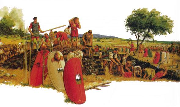 Римская армия строит укрепления все
