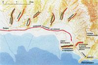 Расположение войск Ганнибала у холмов к востоку от Туоро